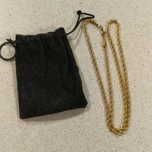 "26"" Faux Gold Rope Chain Necklace"